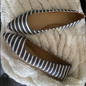 Talbots navy/white striped flats size 11